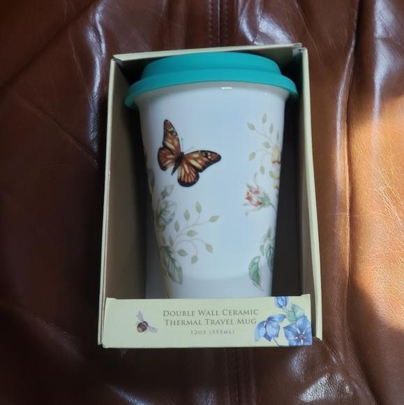 Lenox 12 oz.thermal travel mug butterfly meadow
